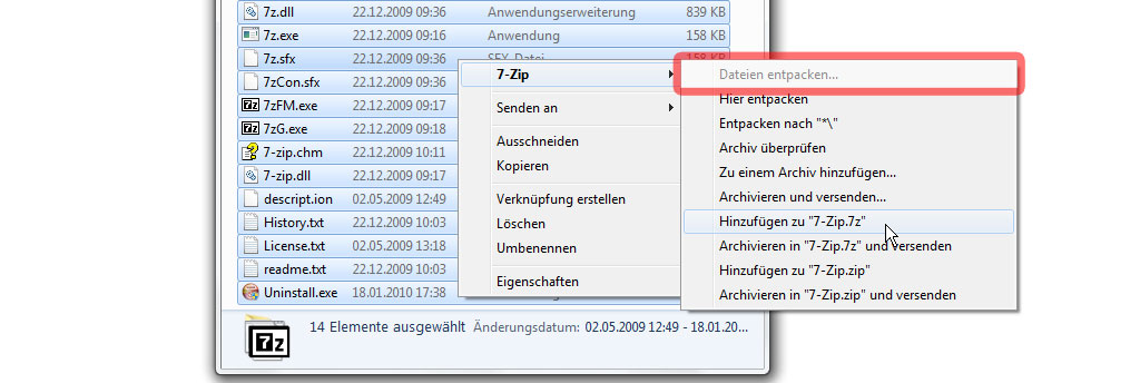 Multi-Tar Dateien mit 7zip für Windows entpacken