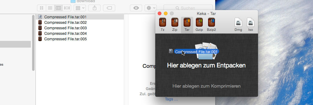 3. Select the FIRST file Compressed File.tar.001 and drag it into the Keka window