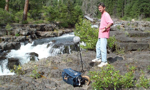 Sound Designer David Farmer records the sound of a creek