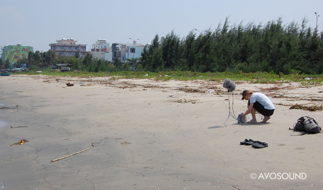Preparing for sound recording on the beach in Nha Trang