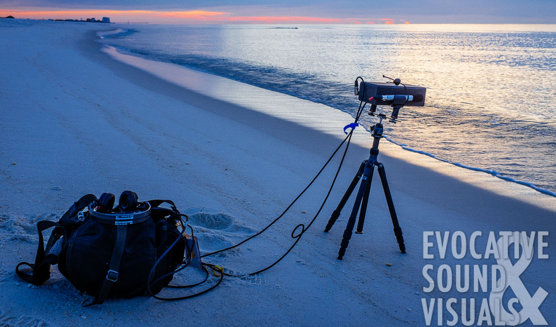 Rick Hannon Recording beach sound at gulf cost of florida