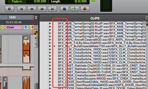 Pro Tools Clip List sorts audio files alphabetically