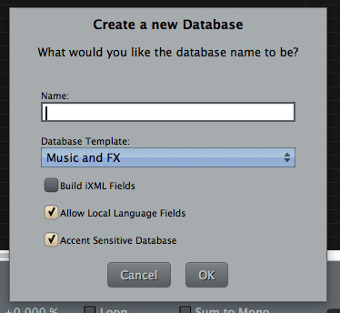 Soundminer Database - Create a new Database