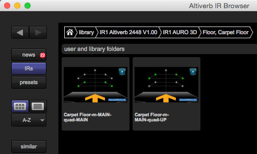 Altiverb Impulse Response Browser mit dem IR1 Impulsantworten Set