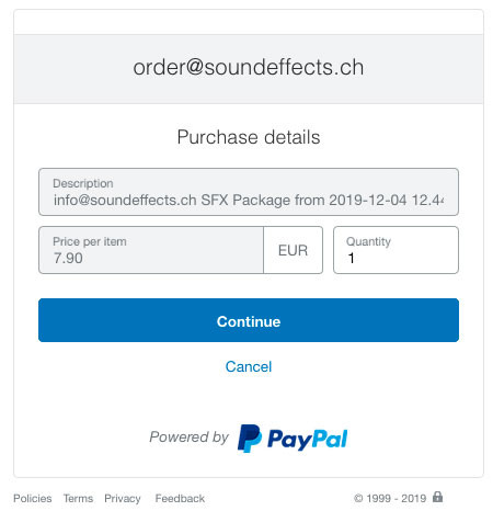 Paypal Window 1 - Purchase details