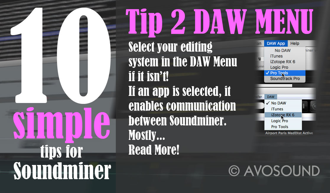 10 simple Tips für Soundminer - Tip 2 DAW Menu
