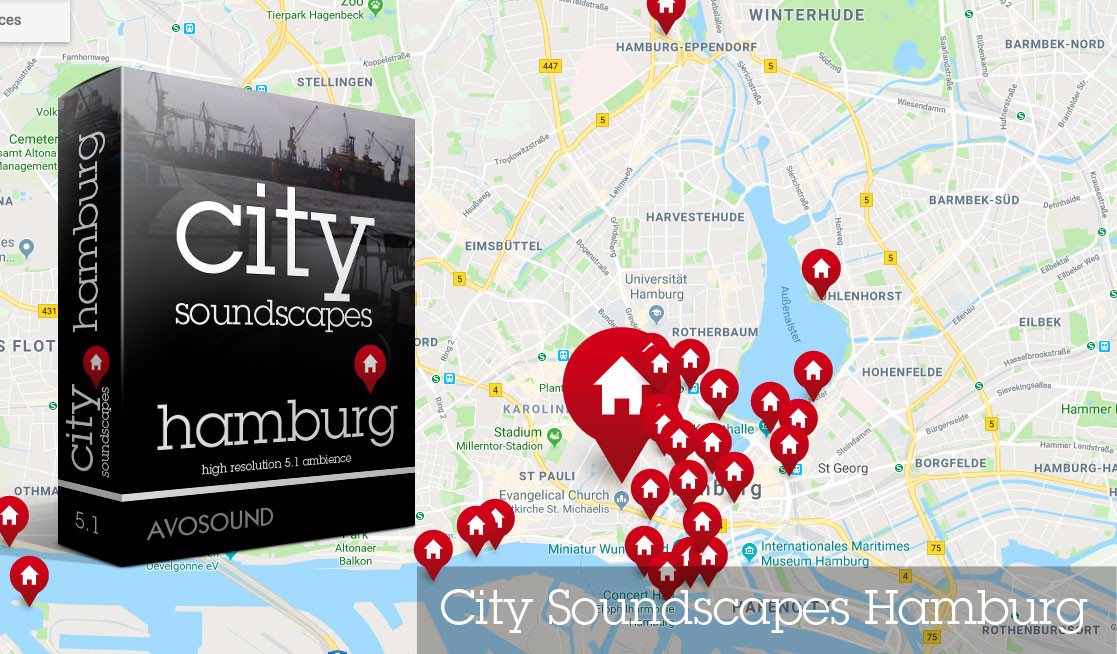 City Soundscapes Hamburg by Avosound - Recording Map