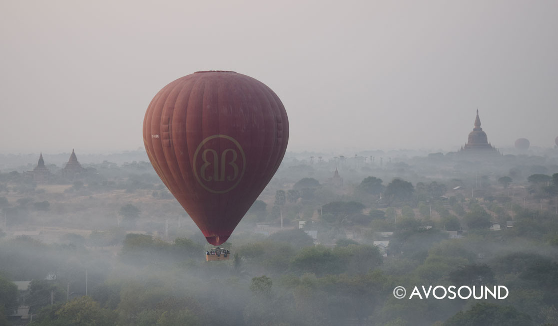 Hot air balloon above the temple field in Bagan
