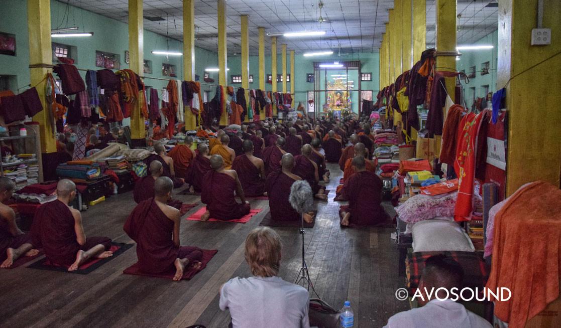 Monks during evening prayer in Mandalay