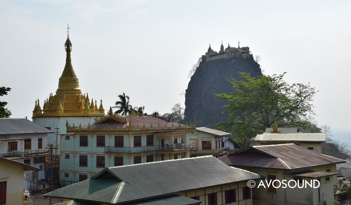 Myanmar: temple complex with Mount Popa