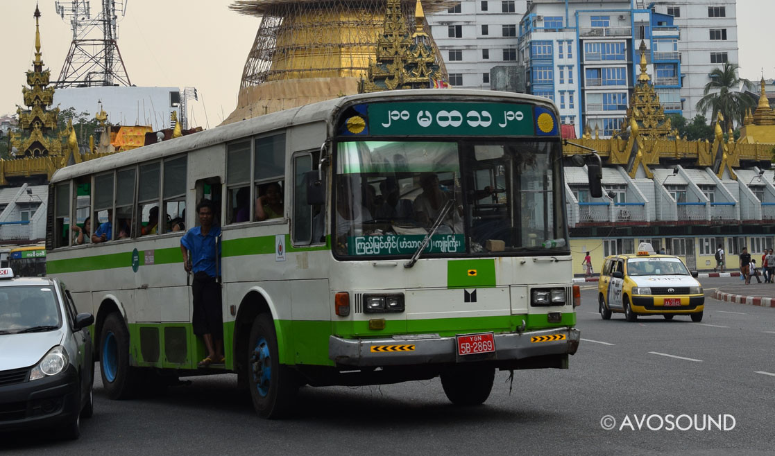 Myanmar Tavel Log: Bus with announcer - public transport in Yangon