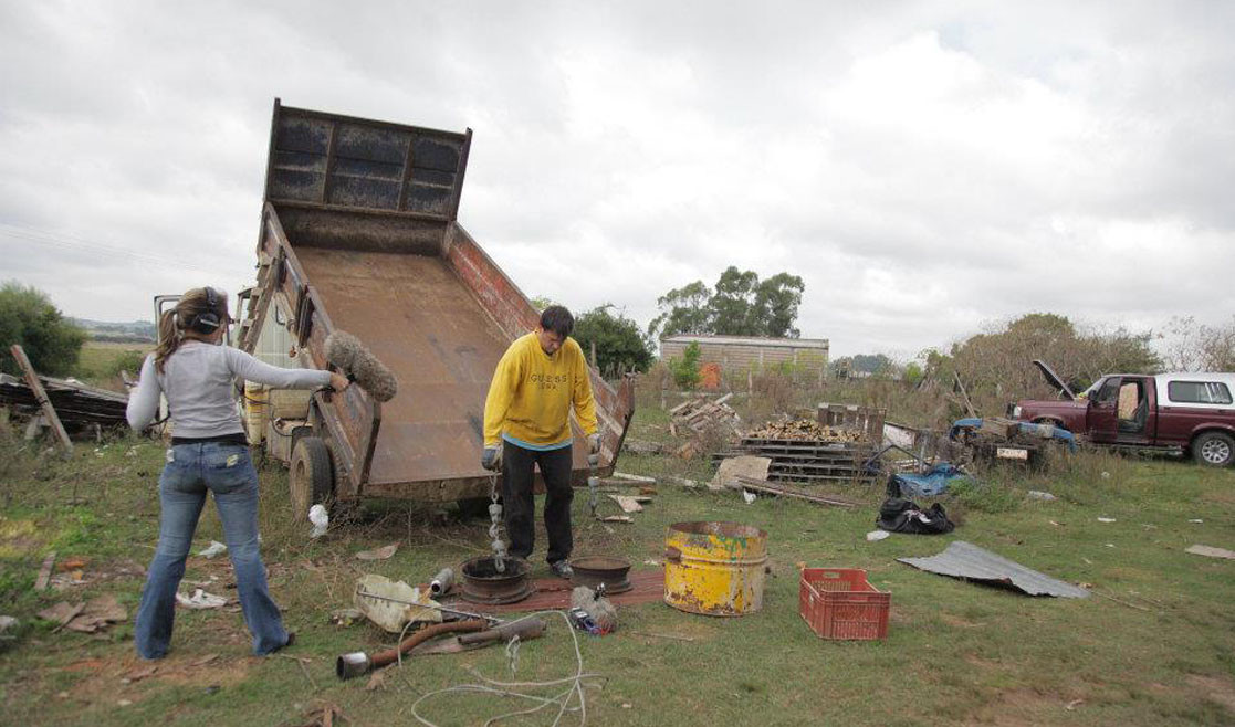 Sounddogs Picture: Rob Nokes and his assistant record the sounds of metal parts in a scrapyard.