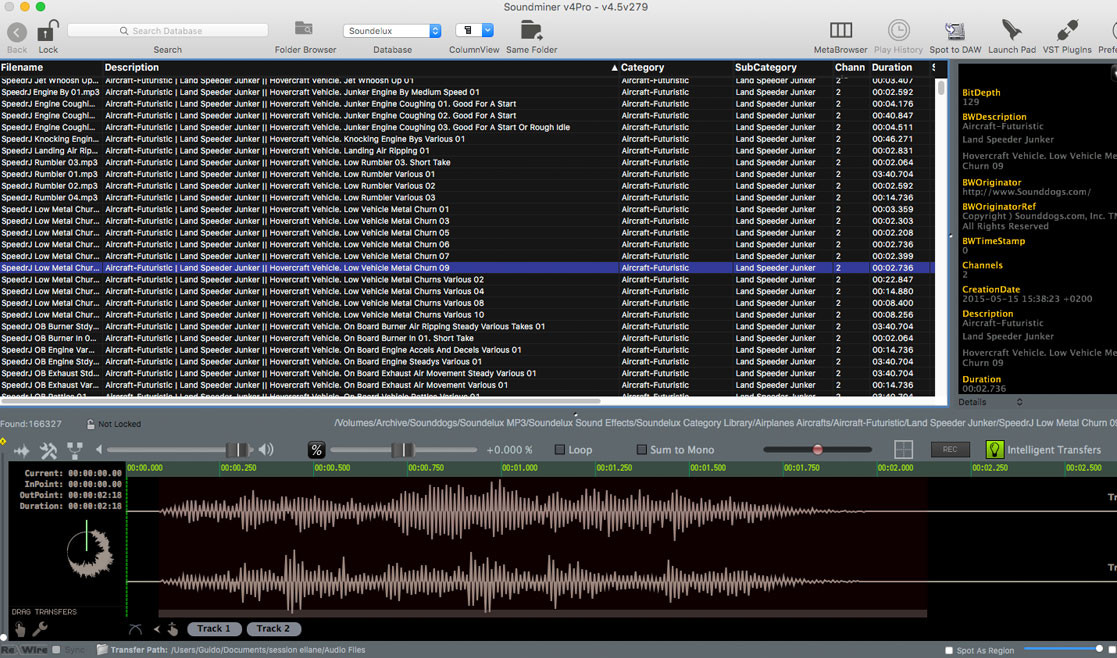 The Soundelux Sound Library - Soundminer Metadata Overview