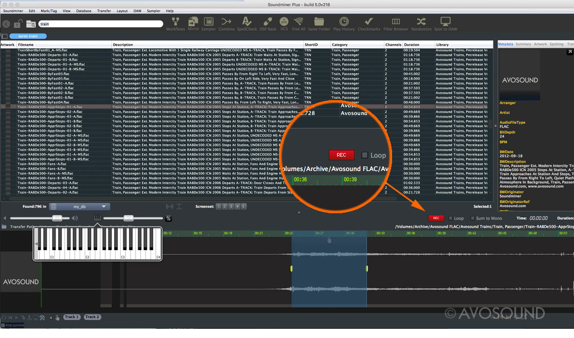 Soundminer PLUS – Recording real-time modifications with the REC switch