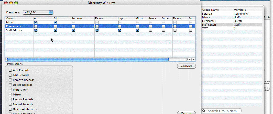 Soundminer Server Permission Administration Window