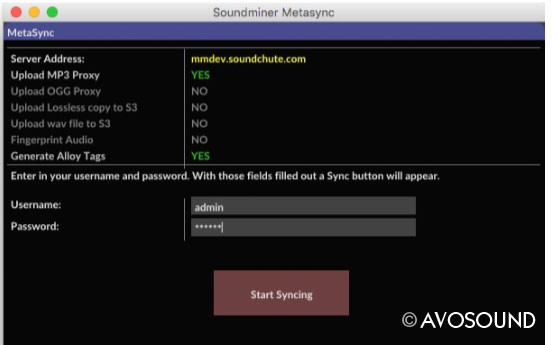 Soundminer Metasync Window - Sync your content in the cloud