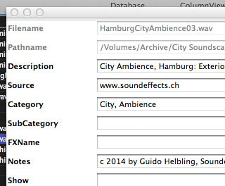 Internationaler Soundminer Metadata Standard